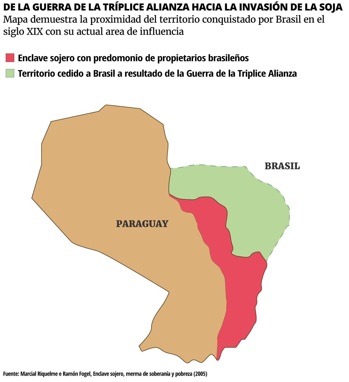 Mapa demuestra la proximidad del territorio conquistado por Brasil en el siglo XIX con su actual area de influencia