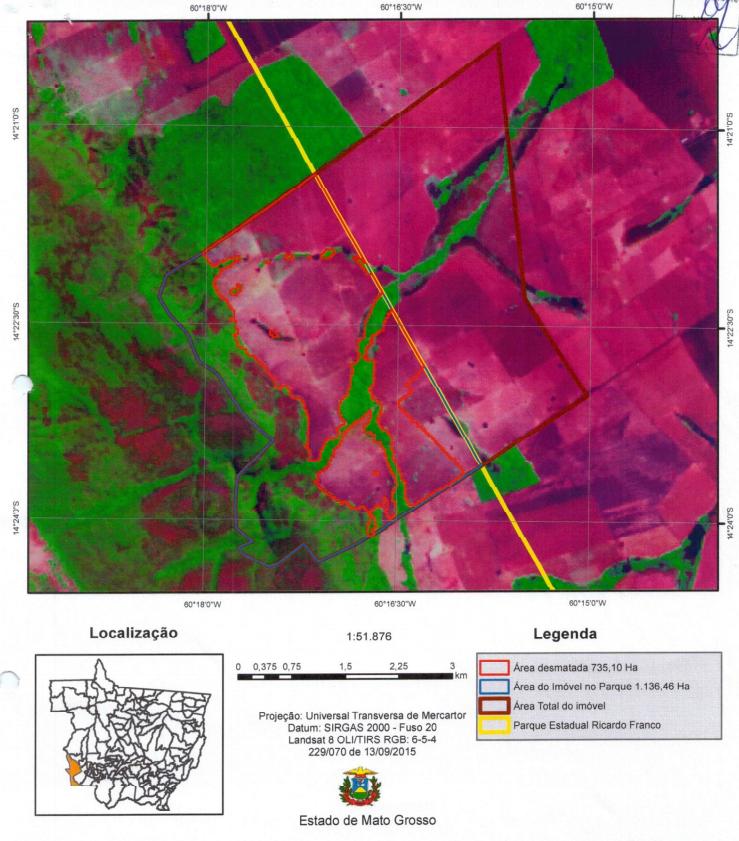 Fazenda cachoeira / Foto de satélite enviadas pelo MPE