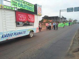 Funcionários protestam contra reabertura da Margen, agora Total S/A. (Foto: CUT)