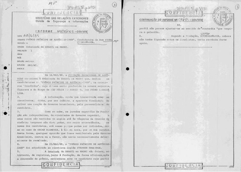 Documentos sobre Pedro Casaldáliga